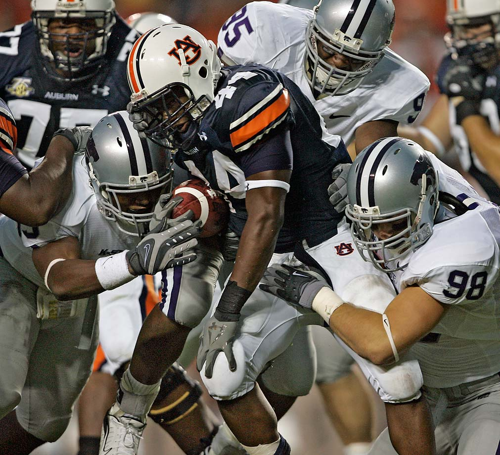 8. Auburn at Kansas State (Sept. 18, 7:30 p.m. ESPN): Who needs the NFL on Thursday nights when Gus Malzahn is matching wits with Bill Snyder? Kansas State's longtime head coach is the master of finding ways to neutralize more talented opponents, which he'll certainly need to do in corralling Tigers quarterback Nick Marshall and his deep cast of receivers. Whether the Wildcats, who finished 8-5 last fall, have the offensive firepower to keep pace with high-scoring Auburn is another story. But strange things tend to happen in Thursday night games -- and they often end with the home team's fans storming the field.