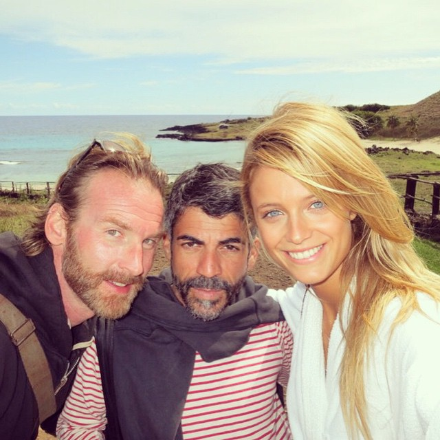 Throwback to Behind the Scenes at Easter Island with @peterbutlerhair and @ericpolito @si_swimsuit (moai statue emoticon just blowing my mind) @mj_day