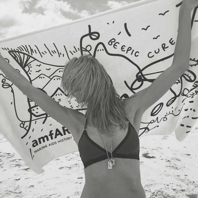 Proud to support @amfAR and their amazing work! You can support too by purchasing this towel @SCOOPNYC! #amfARxShantell