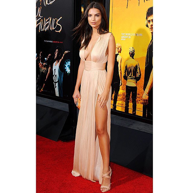 @emrata looked gorgeous in a plunging, champagne gown with a high slit at @wayfmovie's L.A. premiere. #lastnightslook | Jon Kopaloff/FilmMagic