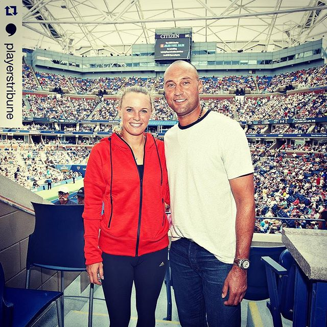 #Repost @playerstribune Founding Publisher Derek Jeter and Senior Editor @carowozniacki at the #USOpen following Wozniacki's first-round win. (Photo by USTA/@pottheiser.)
