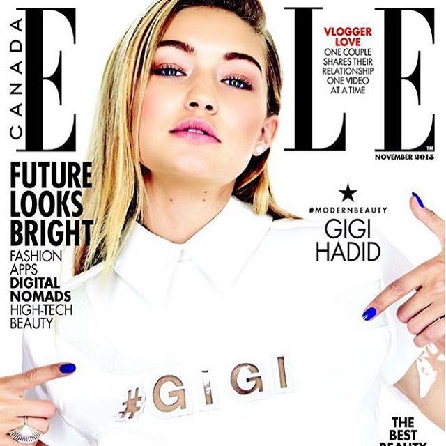 Nothing but #GIGI. @GigiHadid covers the latest issue of @ElleCanada. #princessskin-tone-3 #IMGwomen | #camera @maxabadian #dress @julianaschiavinatto #lipstick @graceleebeauty