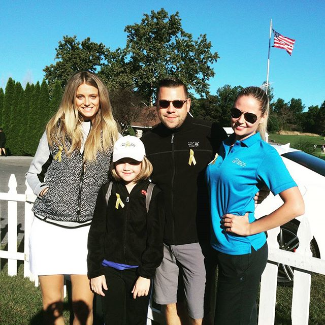 Golfing today with @katelynnebock and @chercik and lilly, for pediatric cancer Foundation of the Lehigh valley #teamlilly