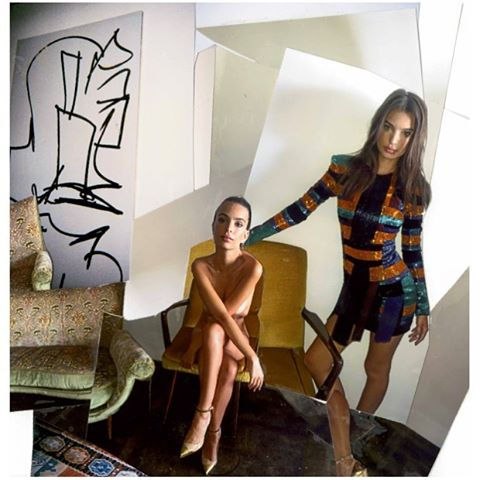 Double selfie at home in @balmainparis for @interviewmag #interviewgang