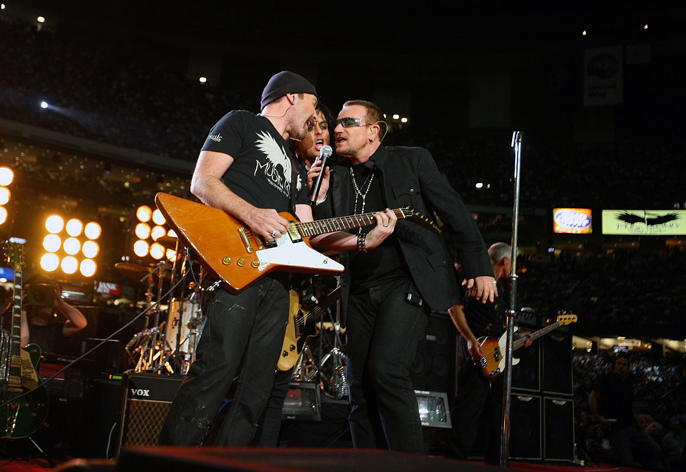 Sept. 25, 2006: U2 and Green Day perform before the Saints-Falcons game at the Superdome.