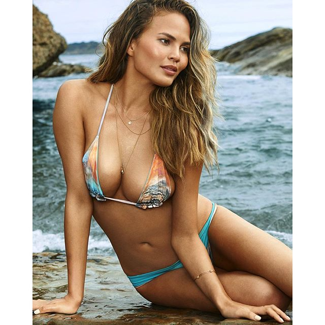 Congrats to the hottest mama-to-be @chrissyteigen This post is dedicated to you! And for those @chrissyteigen lovers, get her itty bitty 'kini at the End of Season SALE in stores or tap link in bio to shop #sanlorenzobikinis