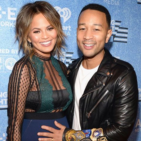 Chrissy Teigen and John Legend *both* have that pregnancy glow! (Kevin Mazur/Getty Images for A+E Networks)