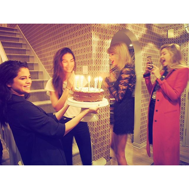 When your girls serenade you for your Birthday! @selenagomez @taylorswift @gigihadid Ps Taylor made my cake #ChocolateEspresso deliciousnessssss