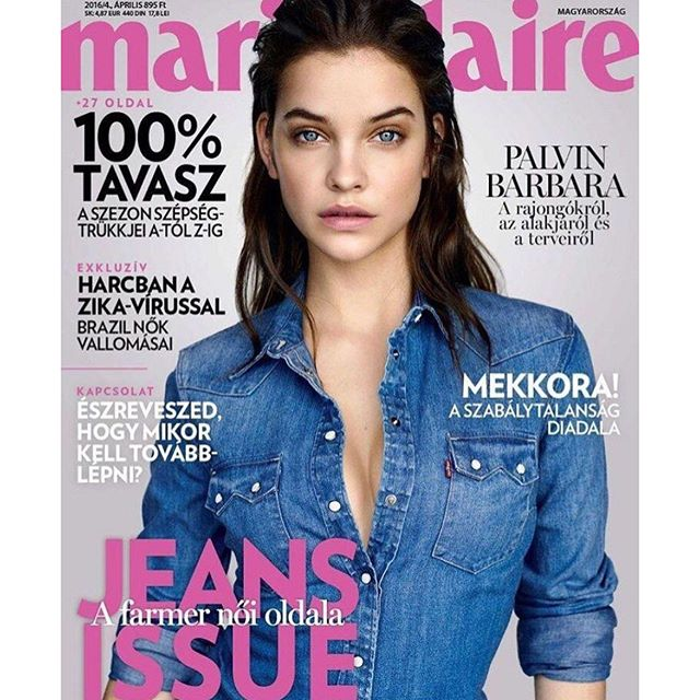 Denim Diva. #BarbaraPalvin (@realbarbarapalvin) covers the latest issue of @marieclairehun. #IMGstars