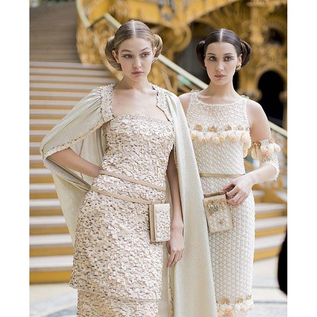 Sister sister! @gigihadid and @bellahadid at @chanelofficial Spring 2016 Couture Show!