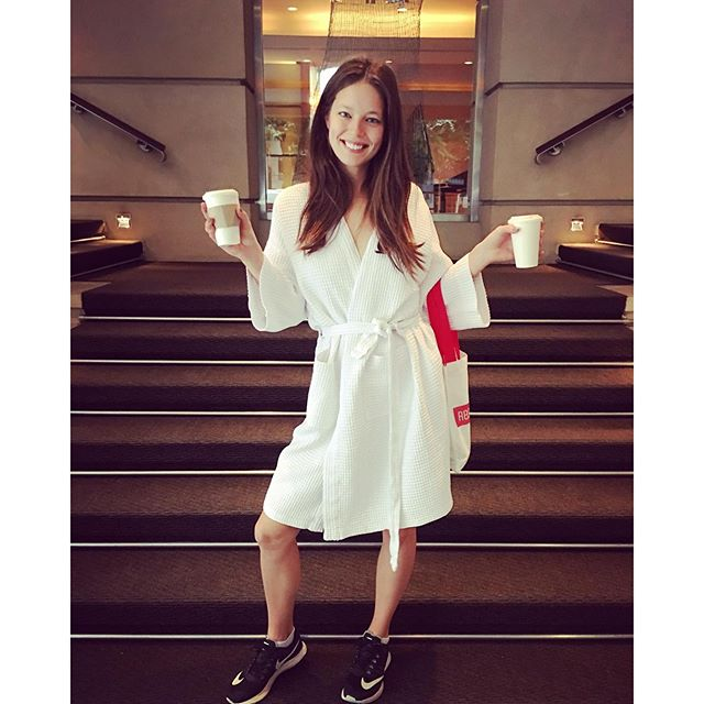 Hello. Good morning! I have arrived. It's one of those mornings when you roll up to set en robe. ️ #coffeeplease #maybellinegirls photo by @charlesvarenne