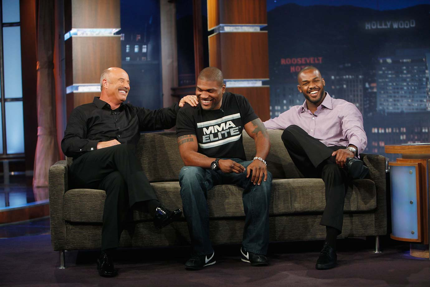 Jon Jones and Rampage Jackson on The Jimmy Kimmel Show ahead of their main event fight at UFC 135. Also pictured is Dr. Phil.