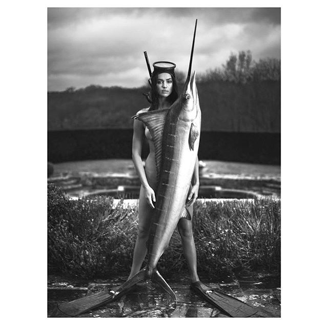 "When u decide to go fishing with @mertalas and @macpiggott in London at the 0c pond! Repost from @mertalas: ""IRINA in new issue of DOUBLE magazine ! Love this story #mertandmarcus #mertalas #doublemagazine"""
