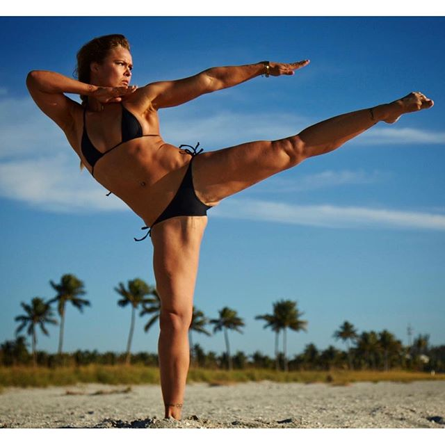 "Will the ""real Rhoda Rousey"" please stand up! Shot for @sportsillustrated swimsuit issue #Rhonda Rousey"