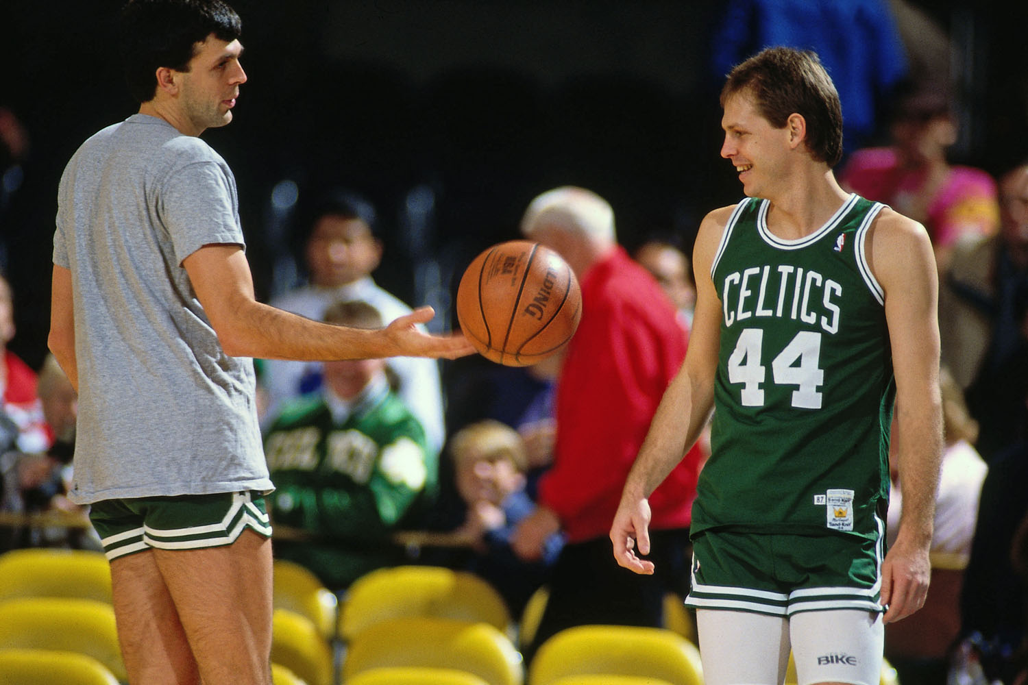 Kevin McHale and Danny Ainge warm up prior to a game against the Los Angeles Lakers circa 1987 at the Great Western Forum in Inglewood, California.