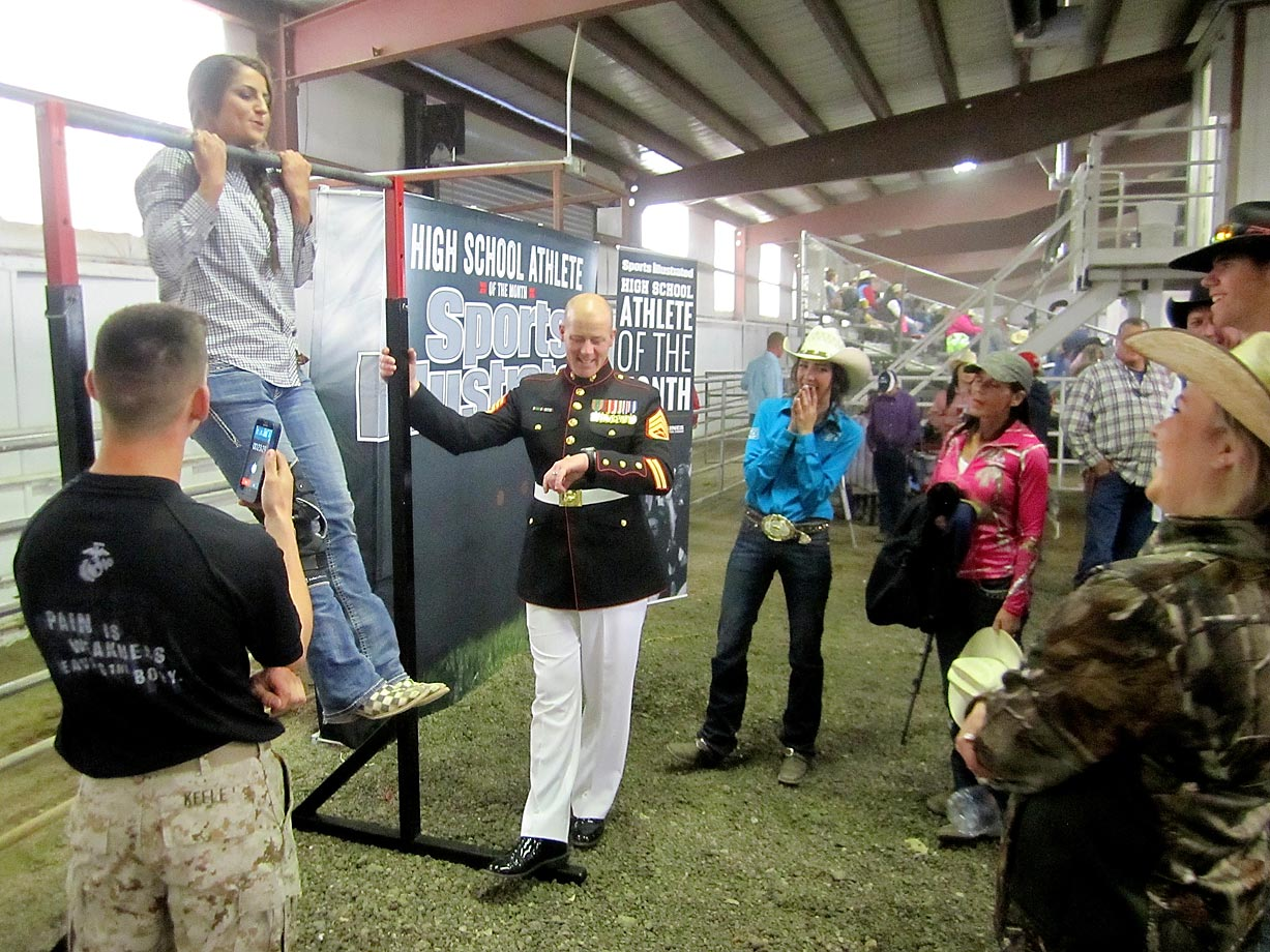 Some competitors opted to do a timed hang from the Marines' pull-up bar.