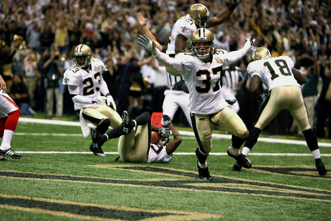 Sept. 25, 2006: Steve Gleason's blocked punt that teammate Curtis Deloatch landed on in the end zone on just the fourth play of the game set the tone for the game and the season. The Saints beat their divisional rival Falcons that night 23–3.