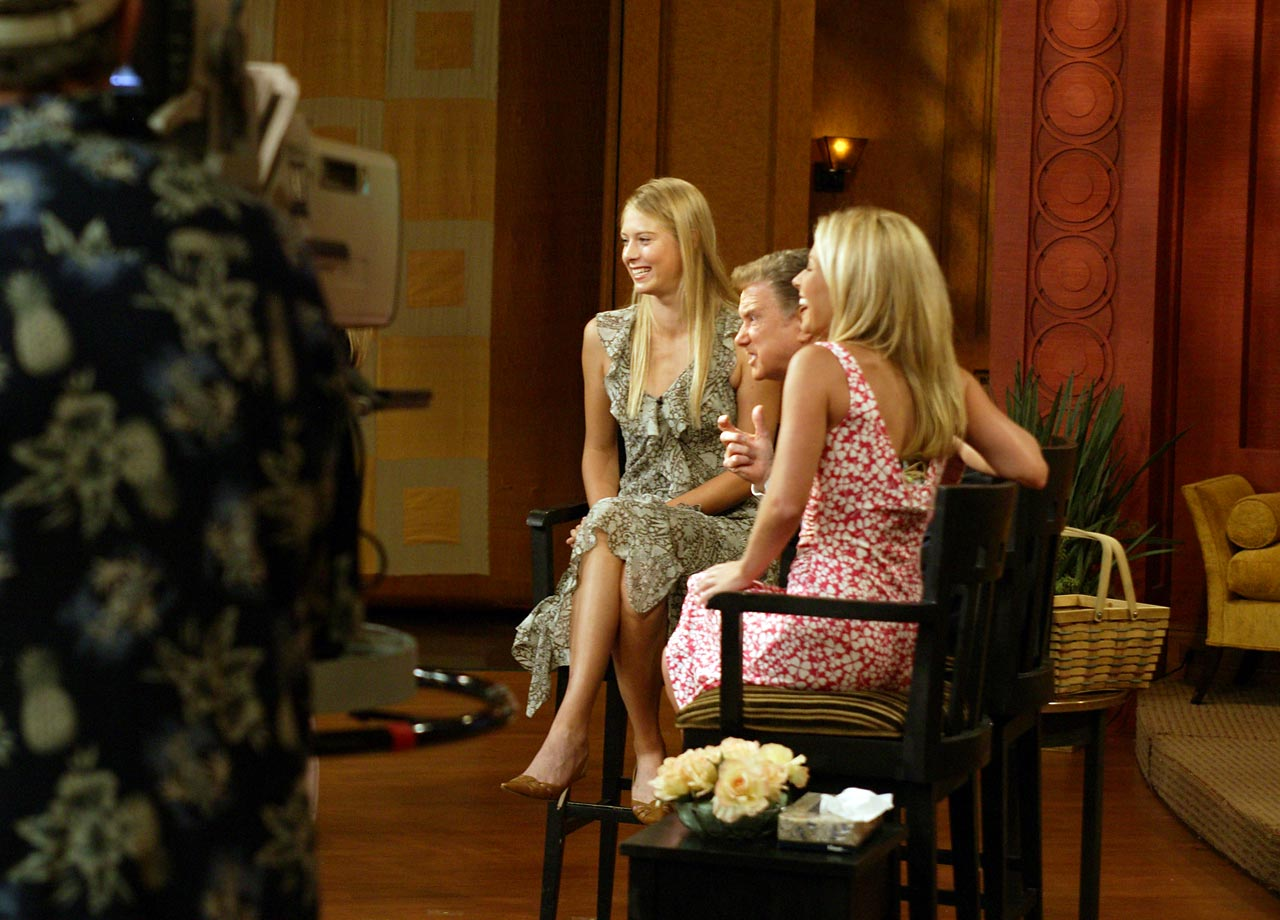 Shortly after winning her first grand slam (Wimbledon) as a 17-year old, Sharapova did her media tours around New York City, including Live! With Regis and Kelly.
