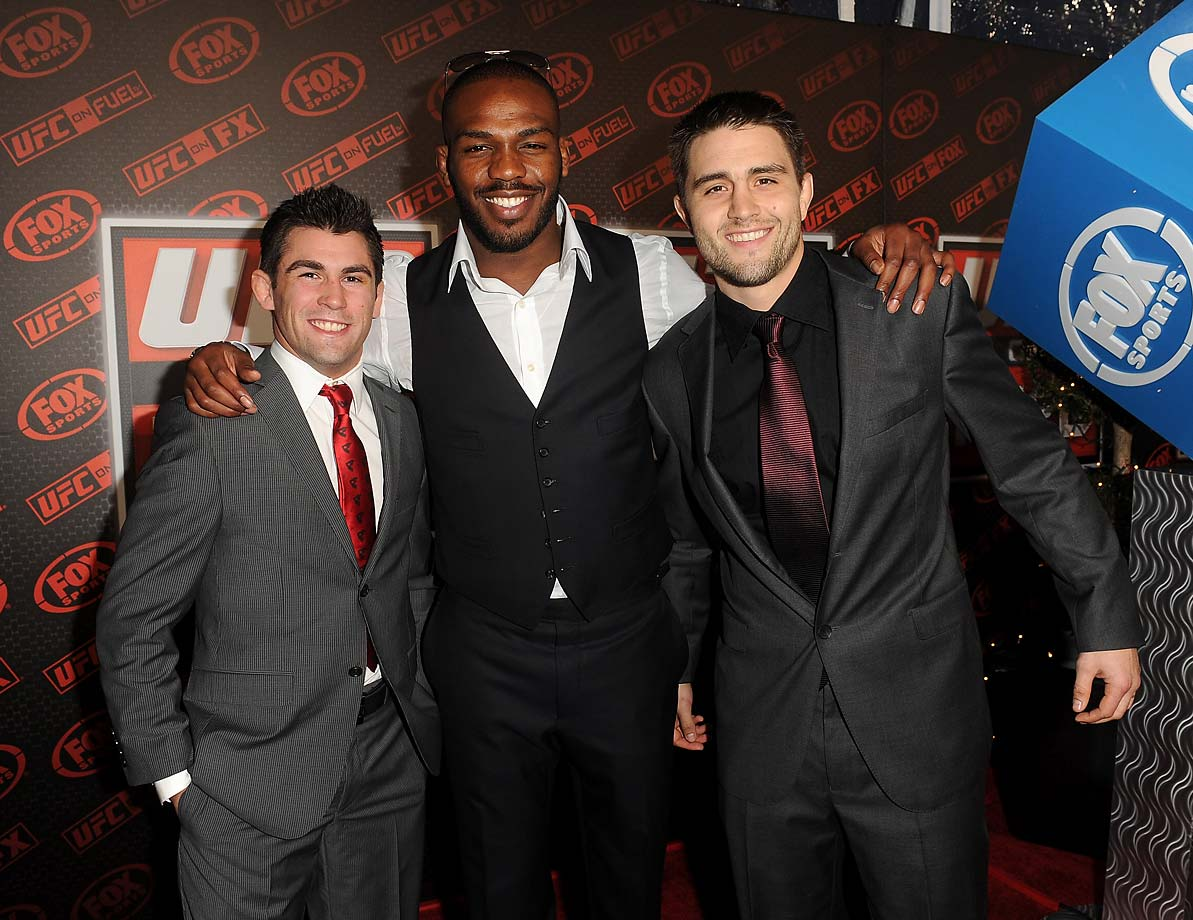 Jon Jones, Dominick Cruz and Carlos Condit attend the first UFC on Fox event in Anaheim, California.