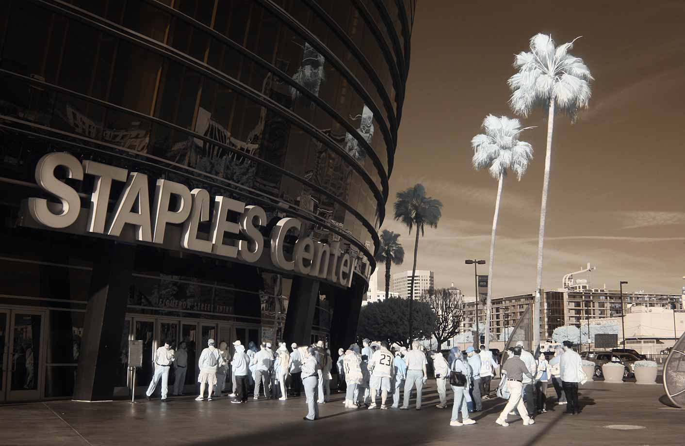 Fans arrive for a game between the Kings and the Phoenix Coyotes at the Staples Center in Los Angeles on March 17, 2014.