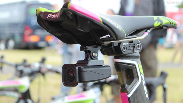 The Shimano camera mounted underneath the saddle of a bike.