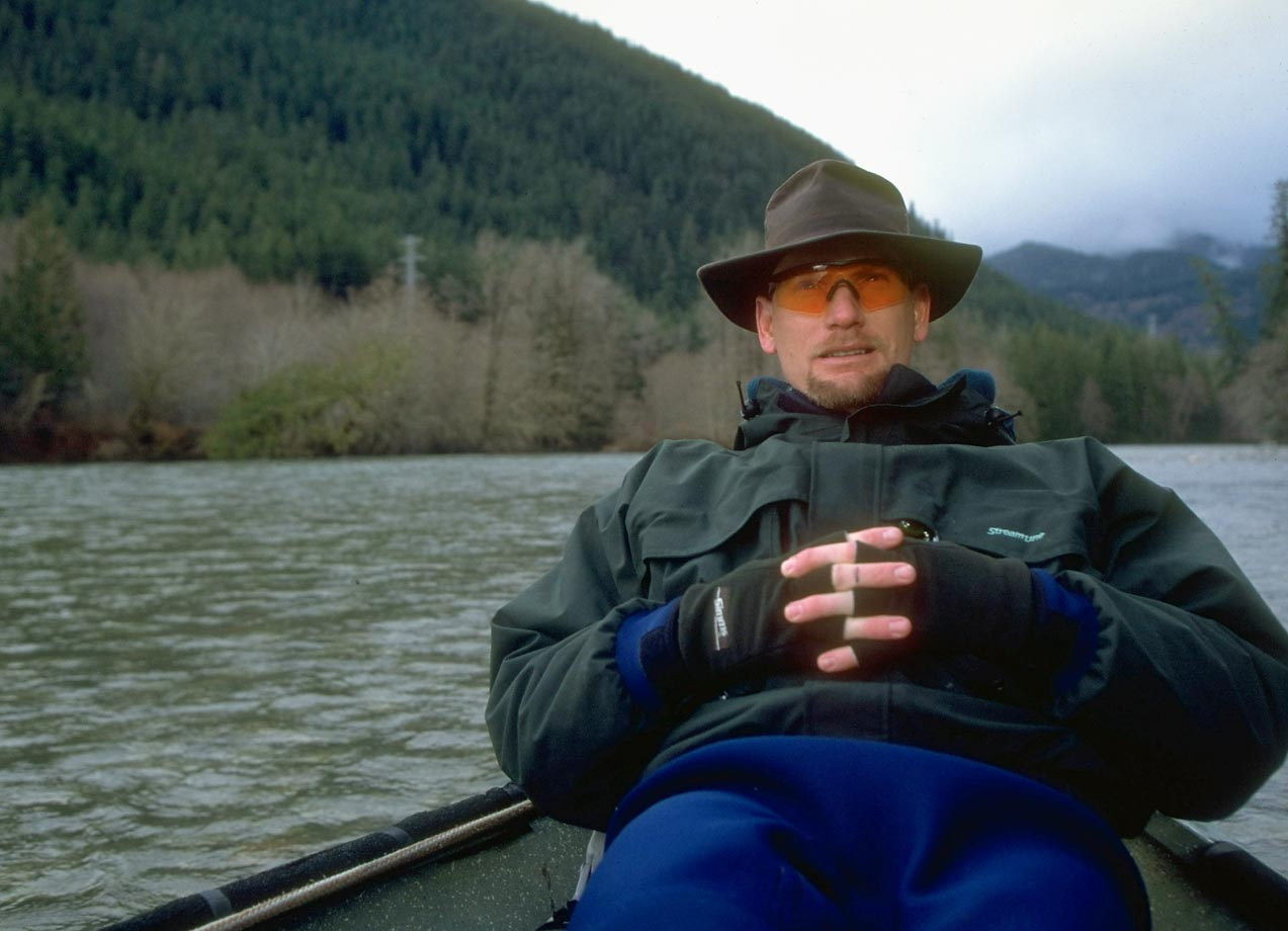 In the midst of the best three-year run in his career, Seattle Mariners slugger Jay Buhner fishes for trout. Seen here in 1996, Buhner would hit 124 home runs during the span from 1995 to 1997.