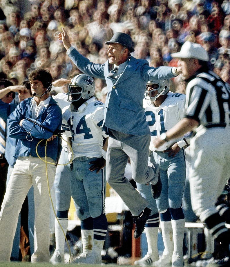 An upset Tom Landry shows some uncharacteristic emotion on the sideline. Landry's Dallas Cowboys were the first wild card team to reach the Super Bowl, beating the Minnesota Vikings on a late Hail Mary and destroying the Los Angeles Rams 37-7 in the NFC Championship Game. They lost to the Steelers in this Super Bowl, 21-17.