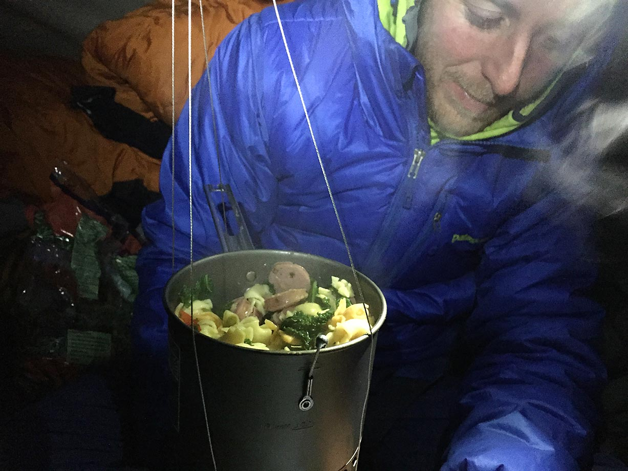 Tommy Caldwell eating some well earned dinner.