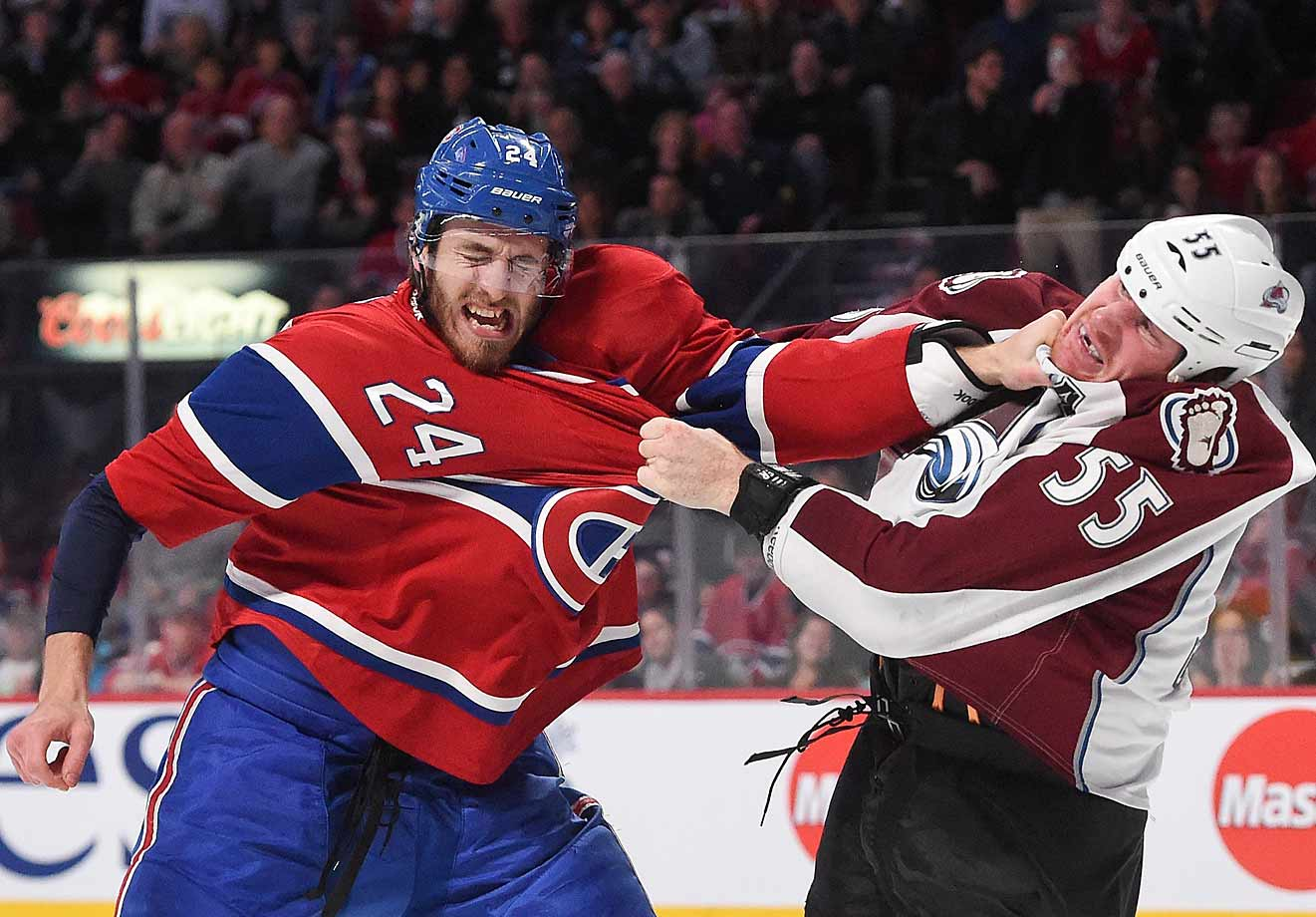 An exchange of fistic pleasantries at the Bell Centre in Montreal on Oct. 18.