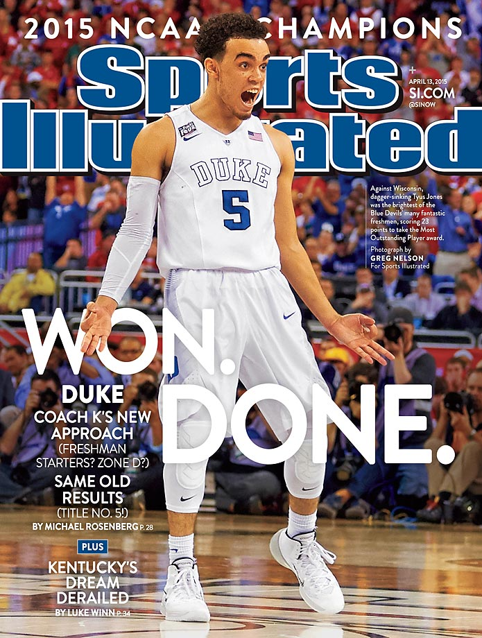 April 13, 2015 | Duke's freshman, led by guard Tyus Jones, played like veterans in leading the Blue Devils to their fifth national championship with a victory over Wisconsin.