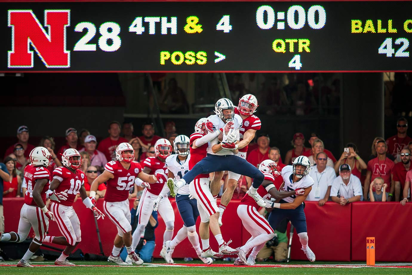 We had a few options for great BYU finishes, but we opted for the one that got it all started. The Cougars scored 17 straight points in the second quarter to take a 24–14 lead into halftime, but Nebraska responded with two third-quarter touchdowns to take the lead. Then backup quarterback Tanner Mangum, filling in for injured starter Taysom Hill, tossed a 42-yard bomb to Mitch Mathews on the final play of the game to give BYU the victory.