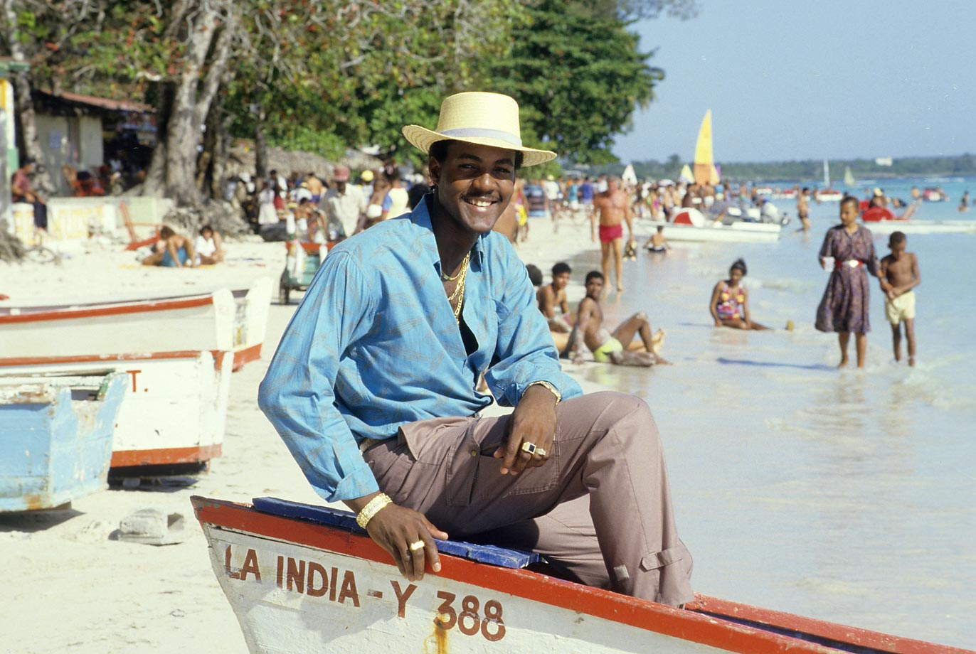 A free-swinging shortstop for the Atlanta Braves, Thomas relaxes on a boat during a photo shoot in his hometown of Boca Chica, Dominican Republic. Thomas played for Atlanta from 1985 to 1990, hitting .234 with 42 home runs in his career.