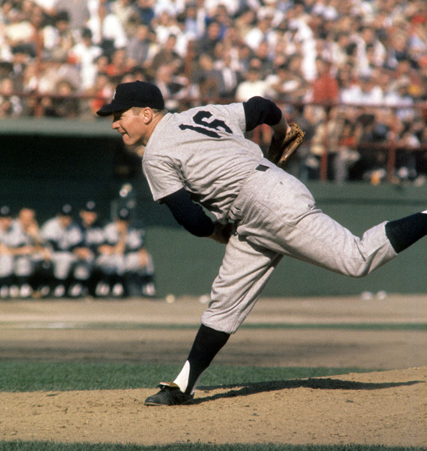 One of the top pitchers in Yankees history, Ford nabbed six World Series rings from 1950 to 1962. In 1961, Ford went 25-4 with a 3.21 ERA to win the Cy Young; he added World Series MVP honors in that year's Fall Classic against Cincinnati, which the Yankees won, four games to one. Ford threw 14 shutout innings in the series, winning both his starts; his 32 2/3 consecutive scoreless innings in World Series play are a postseason record. Ford spent all 16 of his major league seasons with the Yankees, winning 236 games, second-most all-time in franchise history behind Andy Pettitte. He was named to the All-Star team 10 times, led the majors in innings in 1961 with 283, and led the majors in ERA twice (2.47 in 1956 and 2.01 in 1958).