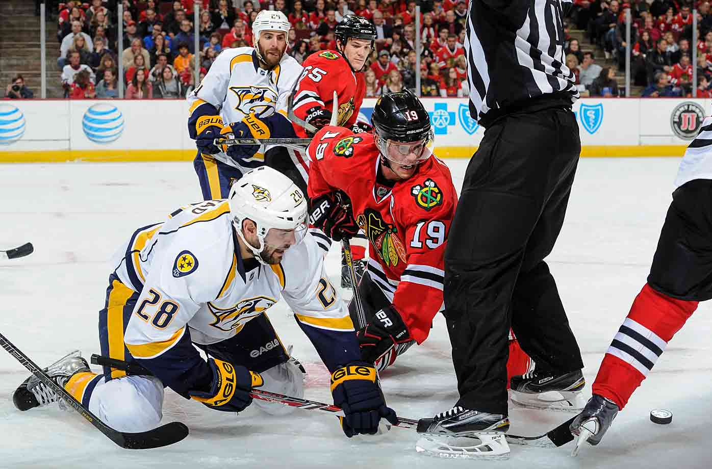 The ever elusive puck slipped through the ref's five hole at Chicago's United Center as the Predators battled the host Blackhawks on Oct. 18.