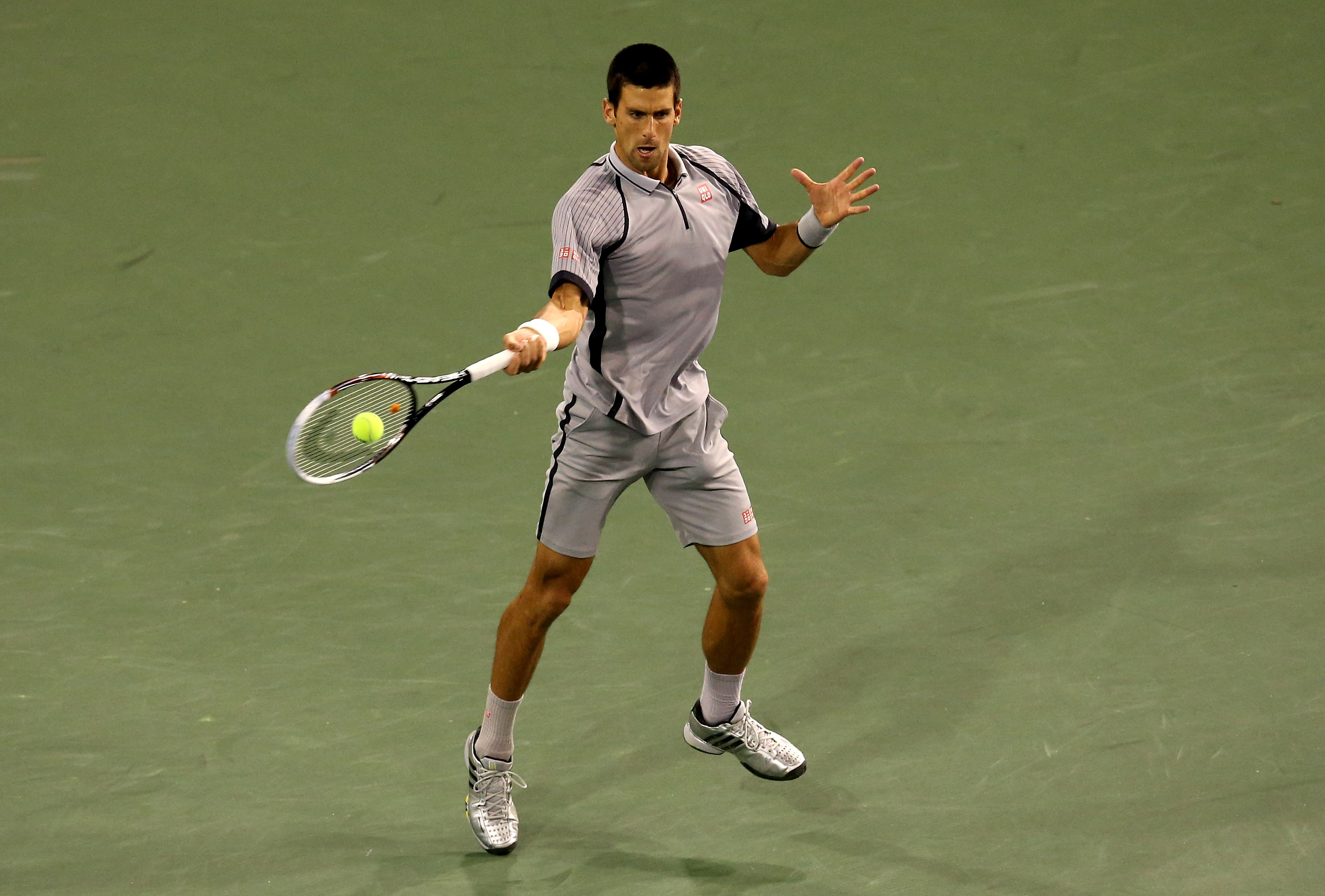 The slate gray number at Indian Wells was nice, but the silver shoes were not.