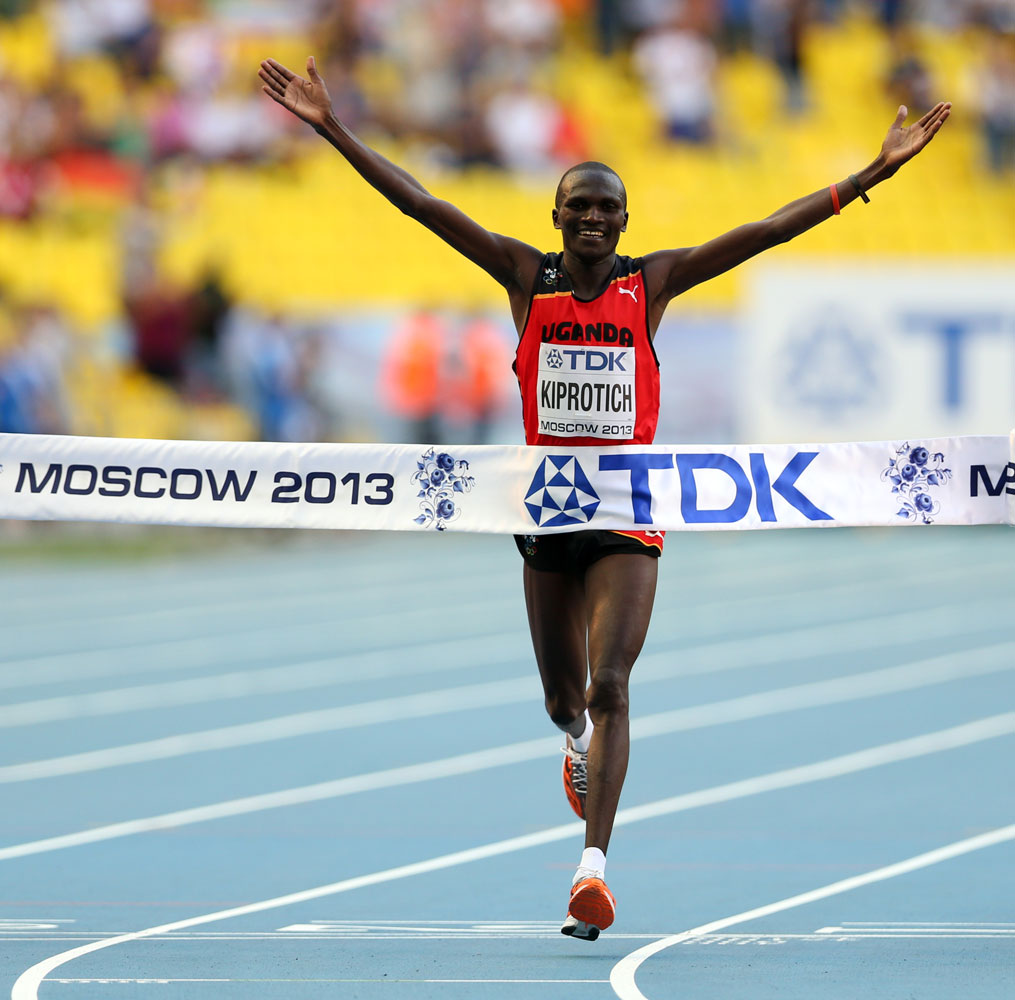 Stephen Kiprotich crosses the finish line at the 14th IAAF World Athletics Championships Moscow in 2013.