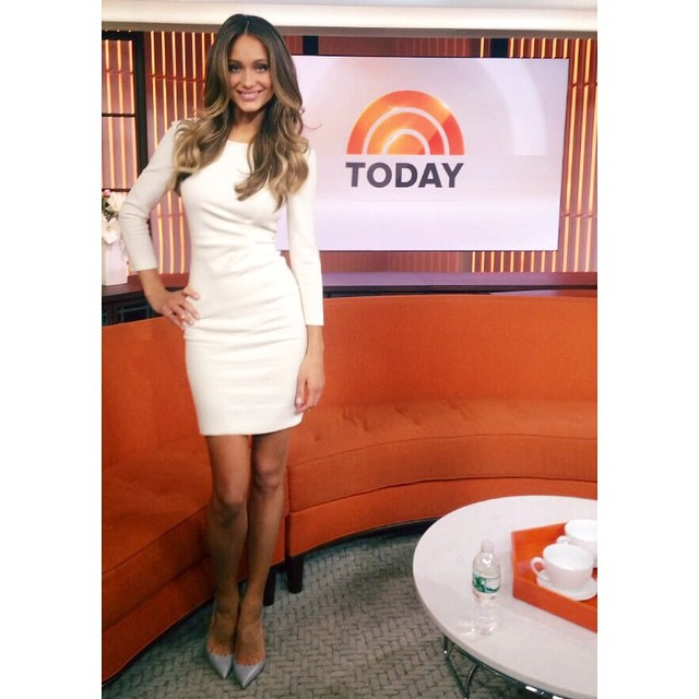 Talking @si_swimsuit this morning on the @TodayShow. Wearing @emiliopucci, @louboutinworld and @efcollection. #SISwim