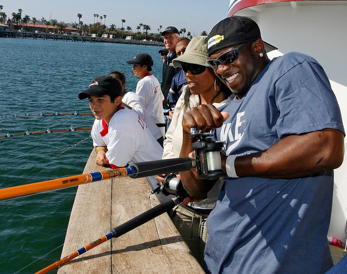 The Chargers running back tries to reel one in during a fishing trip on the San Diego Bay with kids from his Touching Lives Foundation in 2007.