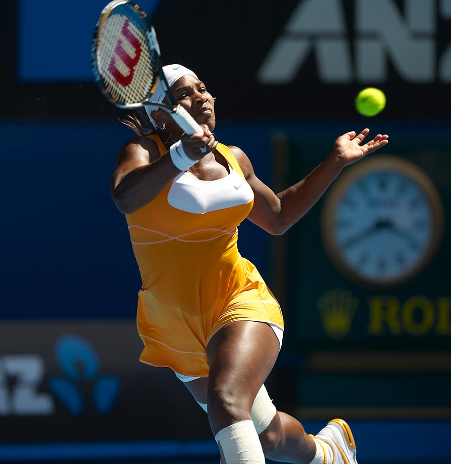 With her 12th title, Serena tied Billie Jean King on the all-time list and continued her mastery of Melbourne by defeating Justine Henin 6-4, 3-6, 6-2. It was her fifth title Down Under.
