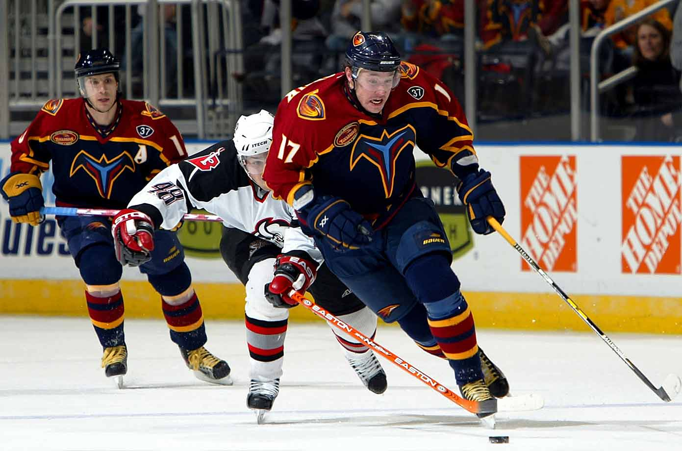 The Russian sniper averaged 36 goals during his three seasons with the Thrashers before the lockout and remained one of the game's most lethal scorers after the NHL returned. He scored 52 goals in both the 2005-06 and 2007-08 seasons, and though his Russian teams often disappointed at the Olympics, they won the World Ice Hockey Championship in 2008 and 2009. In 2011-12, Kovalchuk set a record for NHL shootout goals in a season with 11.