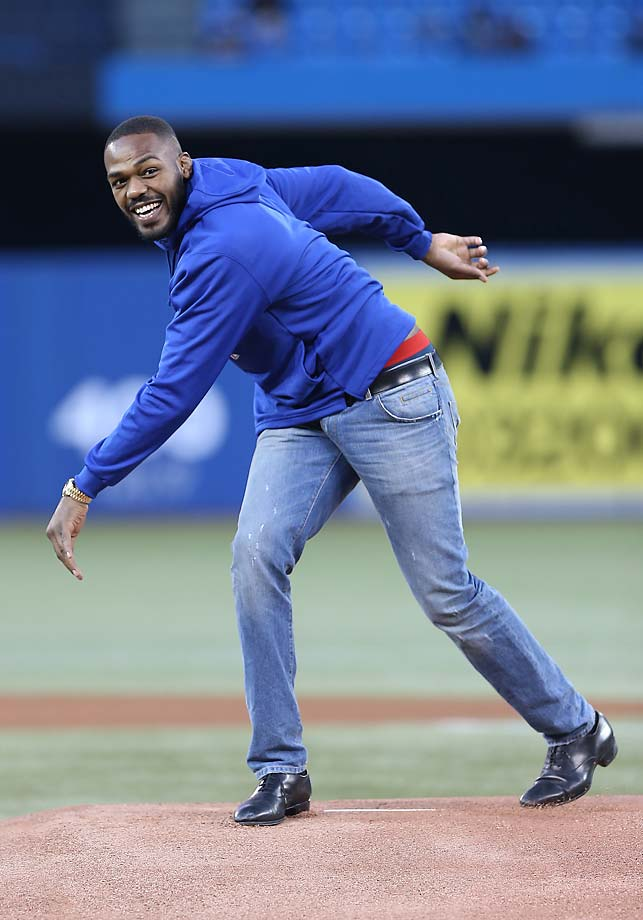 Jon Jones throws out the first pitch at a Toronto Blue Jays game at the Rogers Centre.