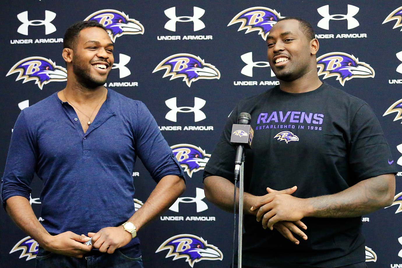 Jon Jones visiting his brother Arthur Jones who is a defensive end in the National Football League.