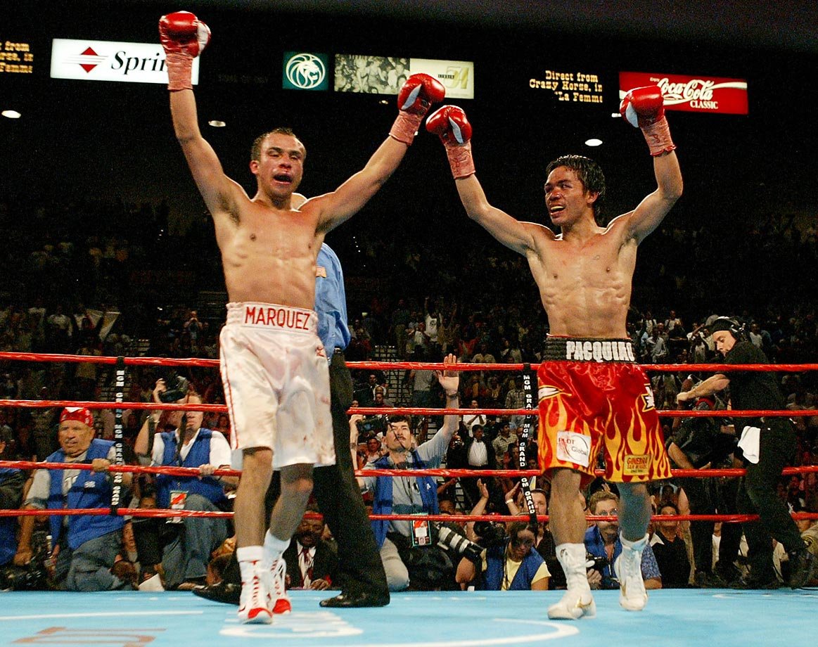 With designs on unifying The Ring featherweight title with Marquez's WBA and IBF belts, Pacquiao faced the Mexican legend at the MGM Grand in Las Vegas. Marquez went down three times in Round 1, but showed unforgettable heart and resiliency in storming back to force a controversial draw.