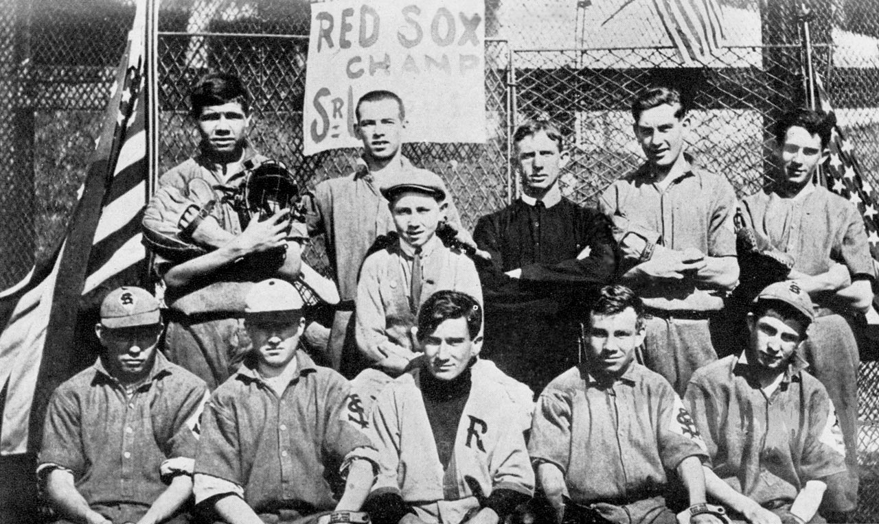 Babe Ruth (top left) and The St. Mary's Industrial School team of Baltimore poses for a portrait sometime between 1910 and 1912.