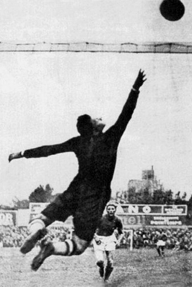 "Hungarian goalkeeper Antal Szabo saves a shot from Italian Silvio Piola during the 1938 World Cup final.  Hungary would go on to lose, but Szabo famously said ""I may have let in four goals, but at least I saved their lives,"" reflecting on then-Italian ruler Benito Mussolini's threat that his team would either ""win or die."""