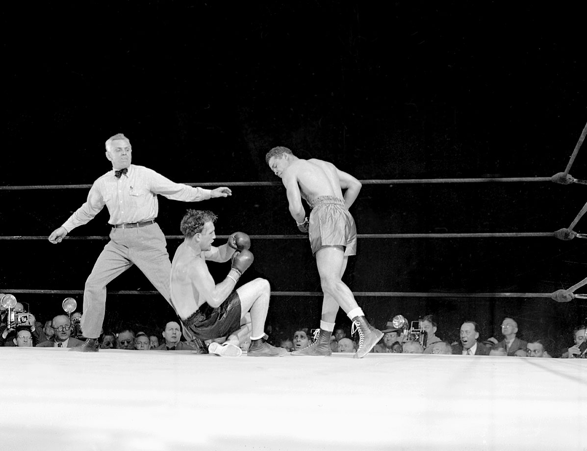 "In one of boxing's most dramatic encounters, former light heavyweight champion Billy Conn, the popular Pittsburgh Kid who had given up his crown to campaign as a heavyweight, took on Louis at the Polo Grounds in New York City. At a reported 174, Conn was giving up at least 25 pounds to Louis, but he made up for it with speed and style. A gifted boxer, Conn circled, moved and jabbed constantly, befuddling Louis at times. ""He was like a mosquito,"" Louis would later say of Conn. ""He'd stick and move."" At the end of 12 rounds, Conn was ahead on two of the three judges' scorecards, and Louis was tiring. ""Box him, Billy!"" his corner implored, but Conn told them he was going for the knockout. That was just the opportunity Louis needed. Two minutes and 58 seconds later, Conn was counted out."