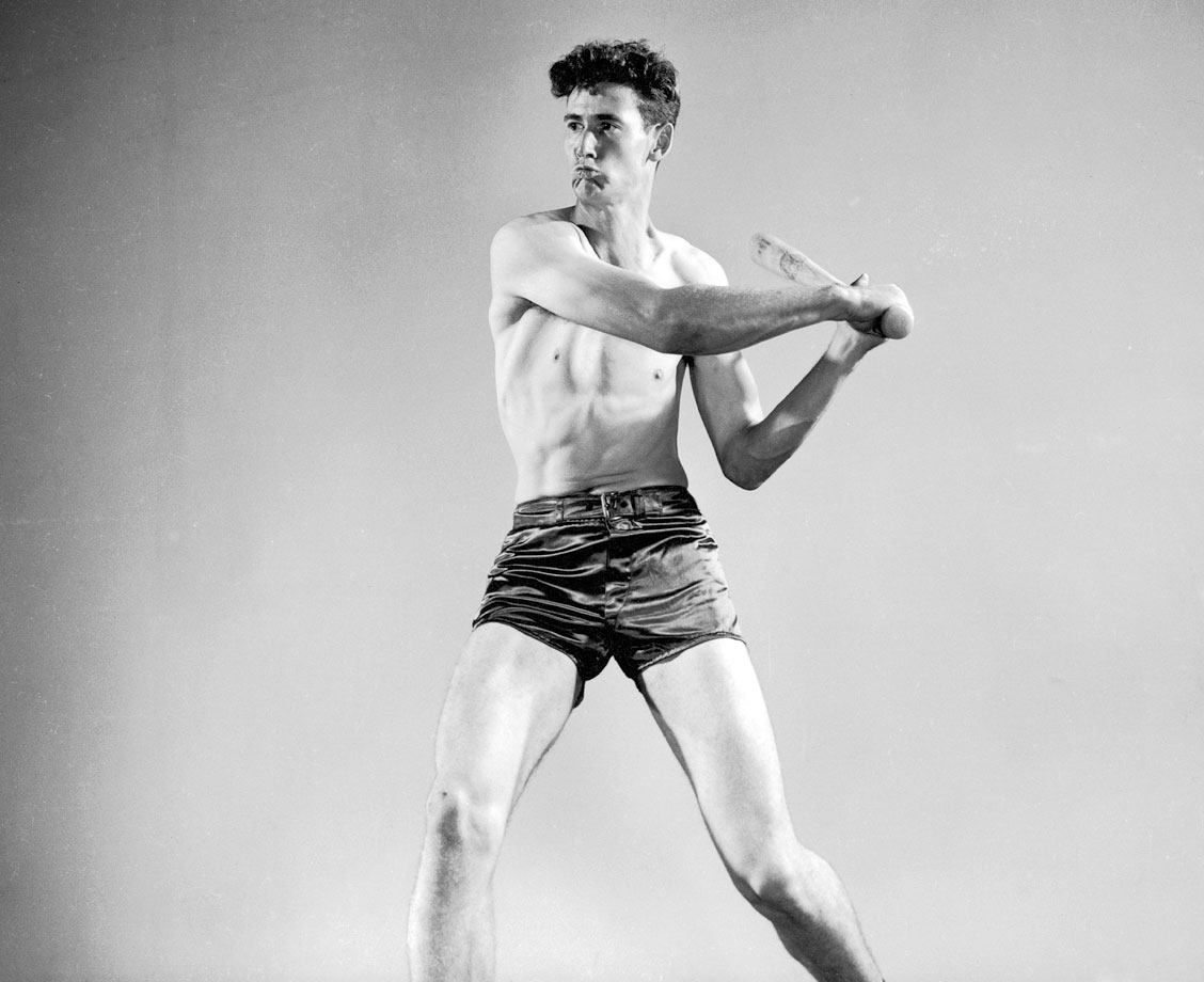 Ted Williams demonstrates his swing technique during a photo shoot in 1941.