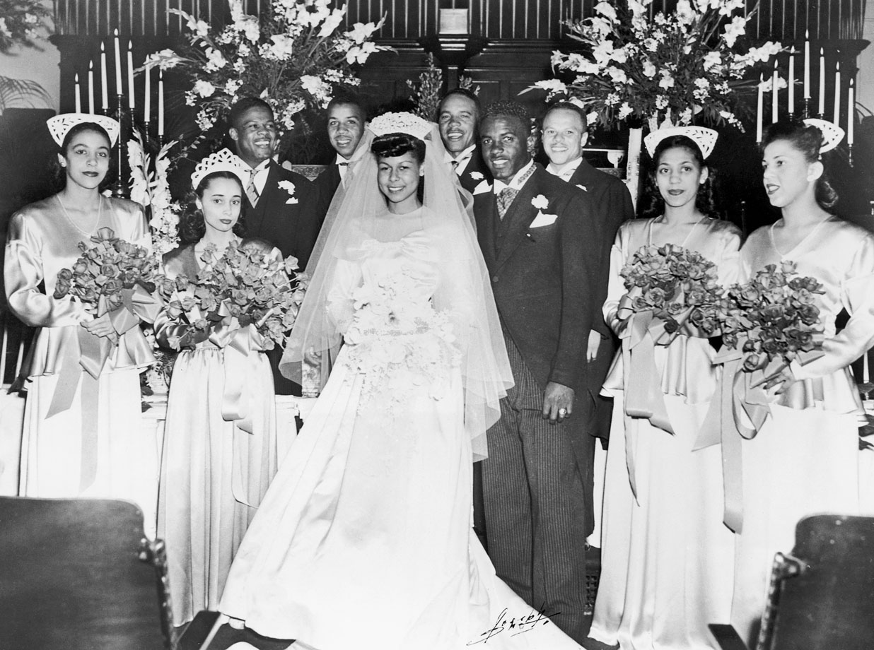 Jackie Robinson marries Rachel Isum at the Independent Church in Los Angeles on Feb. 10, 1946.