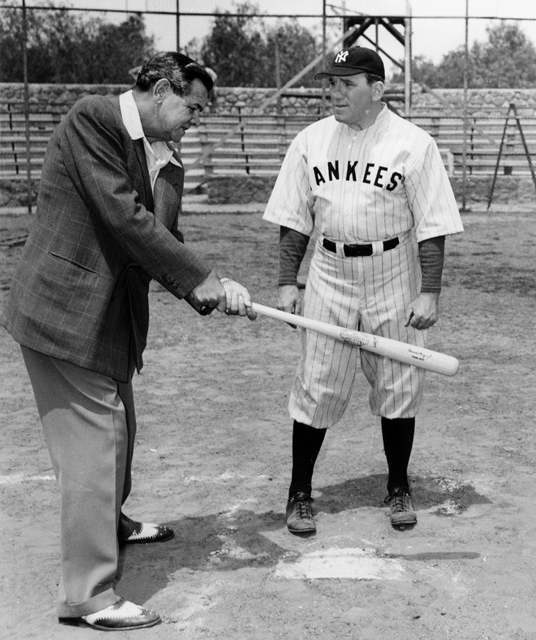 Babe Ruth gives hitting advice to actor William Bendix, who played the Yankee legend in the 1948 movie ''The Babe Ruth Story.''