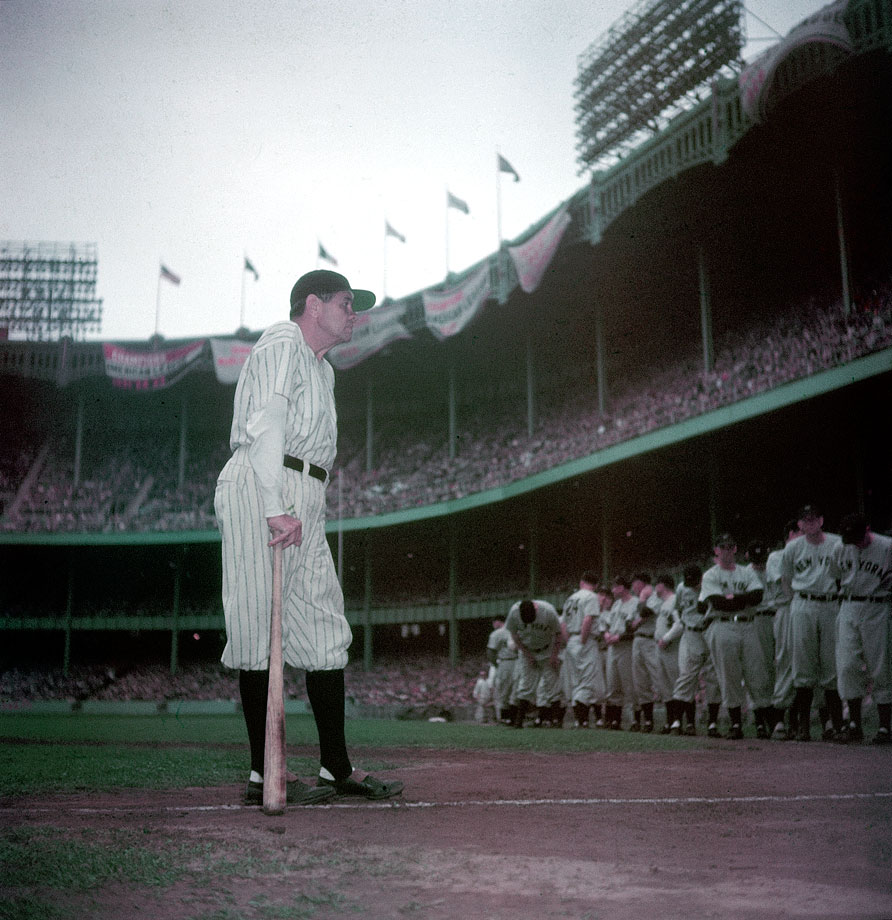 Babe Ruth makes his final appearance at Yankee Stadium as the franchise retires his number, just two months before his death.